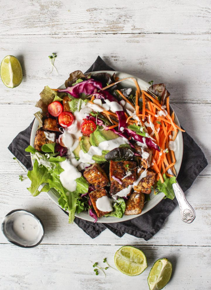 Jamaican Jerk Tofu Salad With Coconut Yogurt Dressing