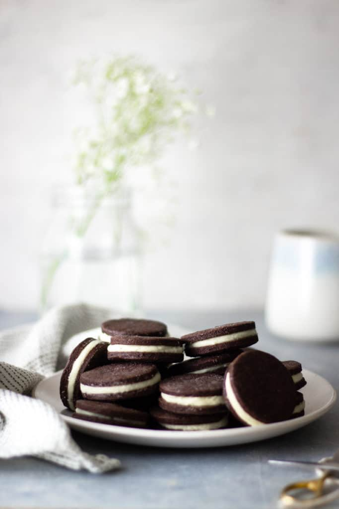 Homemade oreos on a plate