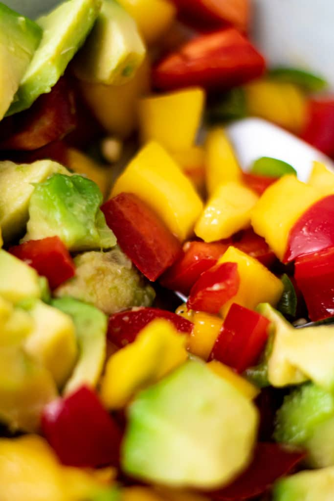close up of mango salsa