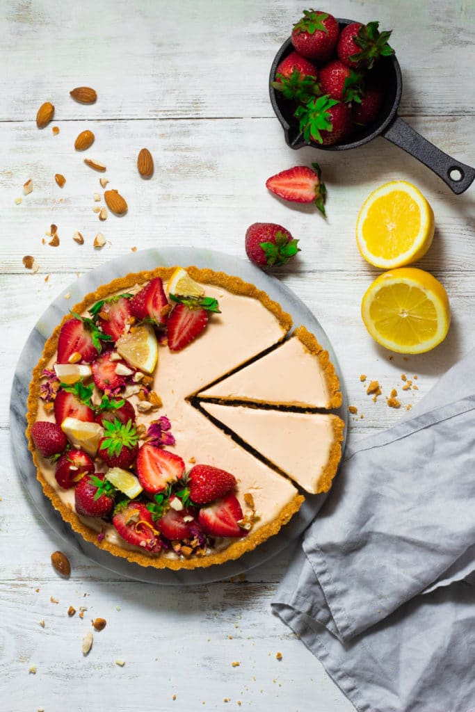 overhead shot of strawberry lemon tart