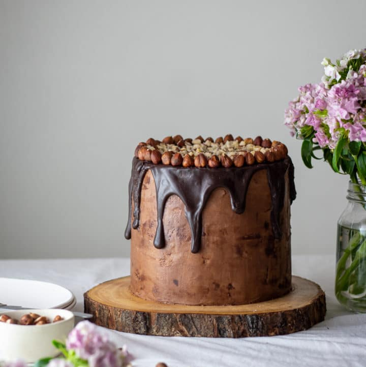 Eye-level photo of hazelnut cake