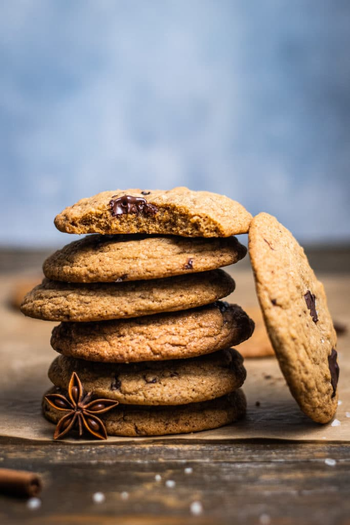 Eye-level photo of a stack of cookies